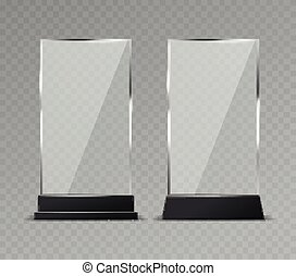 Glass table display. Office transparent glass table signs ...