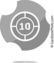 glass target web icon, button isolated on white background