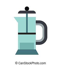 Glass teapot icon, flat style