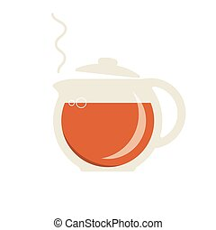 Glass teapot with hot tea icon
