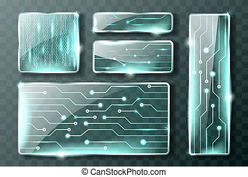Glass technology banners, realistic micro circuit - Glass ...