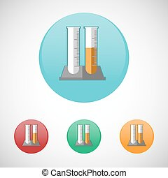 Glass test tube vector icon set.
