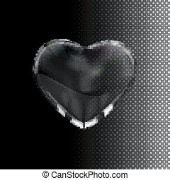 Glass transparent heart. Vector holiday illustration....