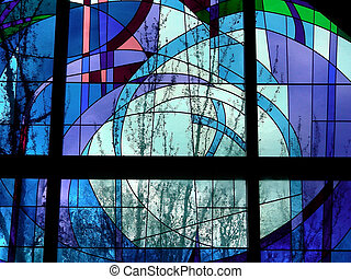 Glass Trees - View of trees through a stained glass window