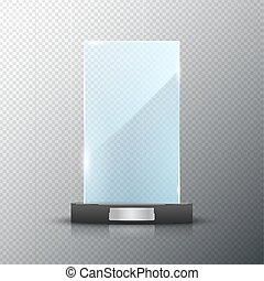 Glass trophy award isolated. Vector blank award on bright background. Crystal glossy design winner