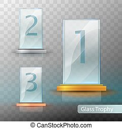 Glass Trophy Award. Set of cups - first, second and third place. Prize template. Gold, silver or bronze award template. Realistic vector transparent object 10