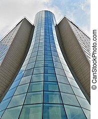 Glass tube building in Warsaw