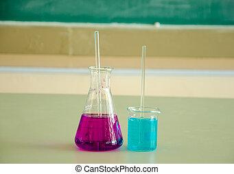 glass tube of liquid in laboratory