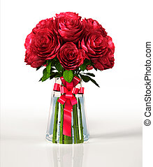 Glass vase full of big red roses, with ribbon. On white reflective surface and white background. Clipping path included.