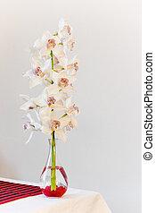 Glass vase with Cymbidium flowers - vertical image