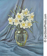 Glass vase with wild narcissus