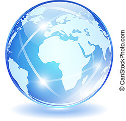 Glass vector globe isolated on white