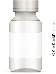 Glass vial on a white background.