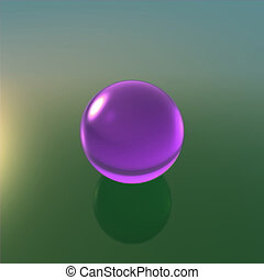 glass violet ball with green background