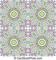 Glass vitrage mosaic kaleidoscopic seamless pattern