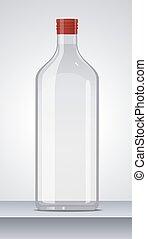 Glass vodka bottle with red cap. Vector illustration. -...