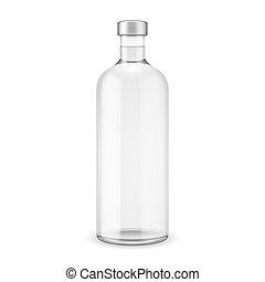 Glass vodka bottle with silver cap. Vector illustration. Glass bottle collection, item 10.