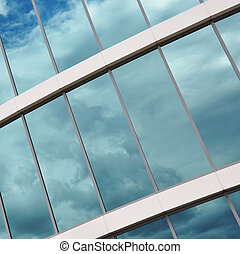Glass wall of a modern office building