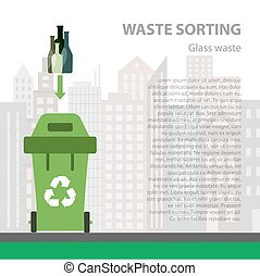 Glass waste sorting flat concept.