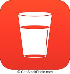 Glass water icon digital red