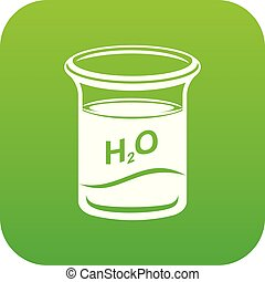 Glass water icon green vector