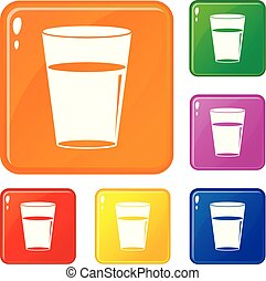 Glass water icons set vector color