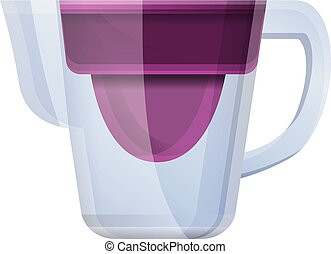 Glass water jug filter icon, cartoon style - Glass water jug...