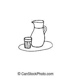 Glass water jug in a doodle style. Hand drawn vector ...