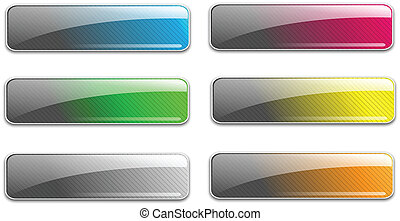 Glass web buttons high glossy, unique design, vector...
