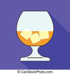 Glass whiskey ice cube icon, flat style
