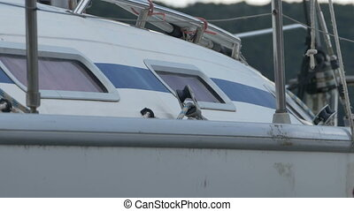 Glass Window on Yacht - Boat window of morred yacht in the...
