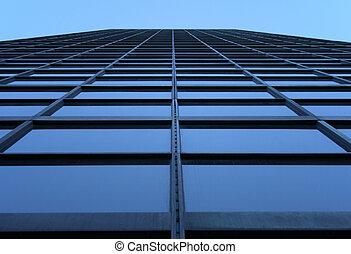 glass-windowed, ciel, gratte-ciel, atteindre