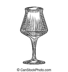 Glass wine isolated on white background. Grappa glass. Engraving vintage style. Vector illustration.