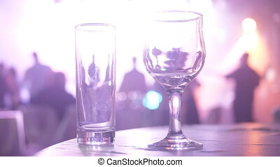 Glass wine night club dancing