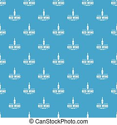 Glass wine pattern vector seamless blue