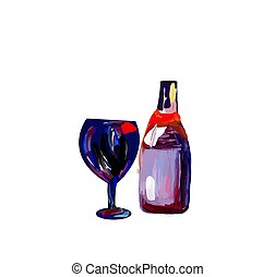 glass with a bottle of wine, color