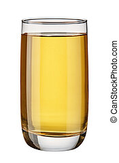 Glass with apple juice isolated on white background.