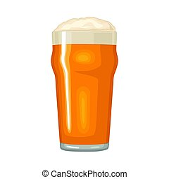 Glass with beer. Vector color flat icon. Isolated on white