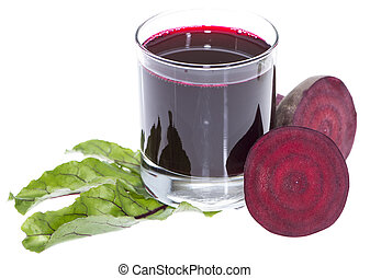 Beetroot Juice isolated on white - Glass with Beetroot Juice...