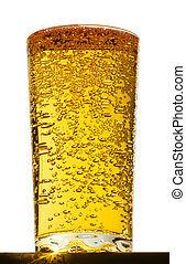glass with bubbles in beer