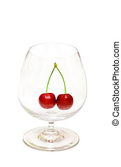 Glass with cherries isolated on the white