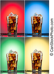 Glass with cola and ice.  Collection of four backgrounds