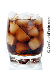 glass with cola and ice