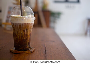 Glass with cold brew coffee and milk