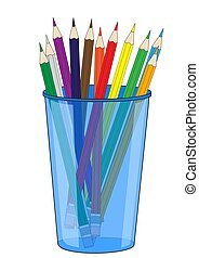 Glass with colored pencils