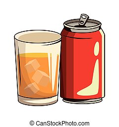 glass with drink and soda can