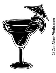 Glass with drink, black pictogram - Glass with drink,...