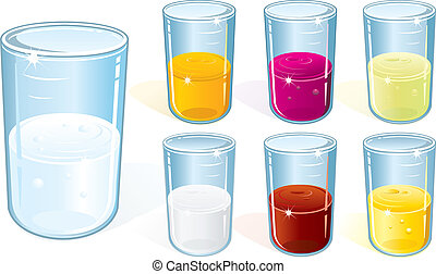 Glasses with water, milk, juices and other beverages