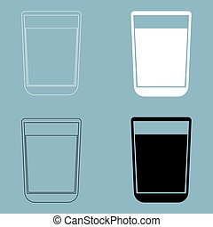 Glass with fluid  the black and white color icon .