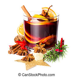 Christmas Hot mulled wine for winter with spices isolated on white background, closeup.